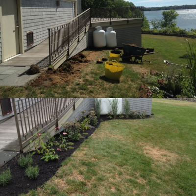 Before and After: Over time, this native border bed will completely screen the tanks.